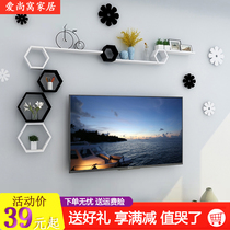 Hexagonal wall mounting rack with perforation-free TV background wall decoration rack creative lattice wall hanging type for bedroom wall