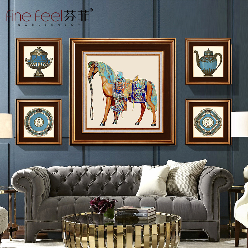 American living room decoration painting European-style atmospheric sofa background wall painting combination hanging painting restaurant mural villa luxury horse