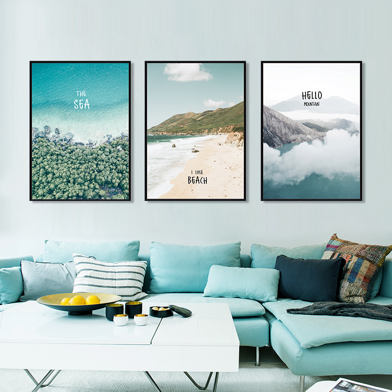 Nordic modern simple style living room decoration sofa background wall painting landscape porch bedroom mural hanging