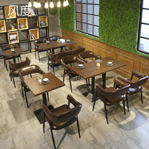 Tea shop tables and chairs custom hot pot shop theme noodle restaurant table and chairs retro industrial style bar bar 819