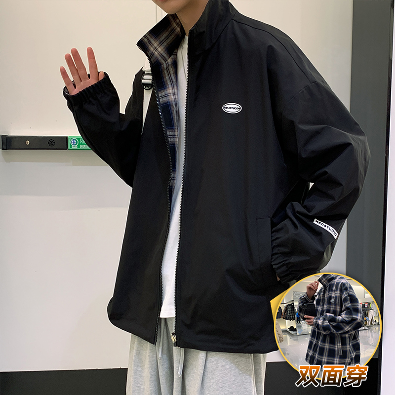Double-sided wearing jacket mens spring tide brand ins spring and autumn leisure port wind bf Korean version of the trend work jacket jacket