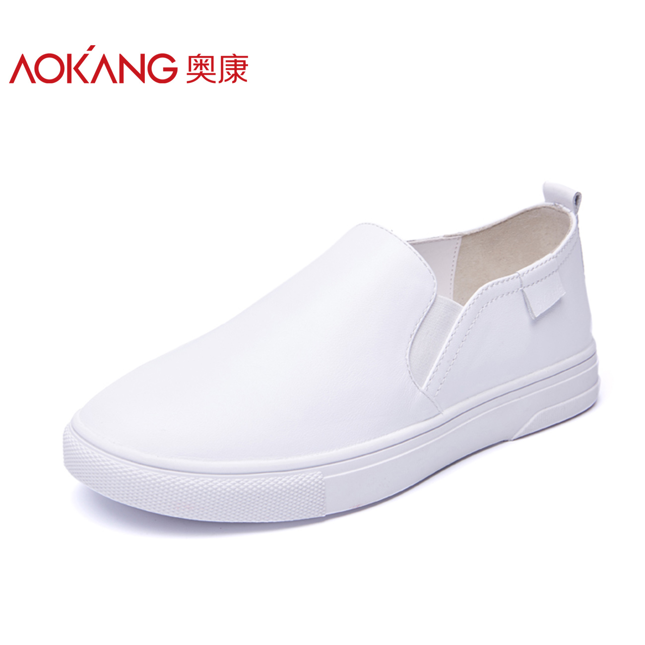 Aokang Women's Shoes Spring and Autumn Flat-soled Comfortable Women's Single Shoes Genuine Leather Fashion Casual Shoes Lifting Lefu Shoes