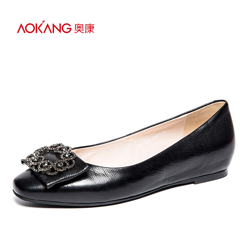 Aokang women's shoes 2018 comfortable new products shallow mouth flat bottom set foot fashion metal buckle decorative single shoes women's daily