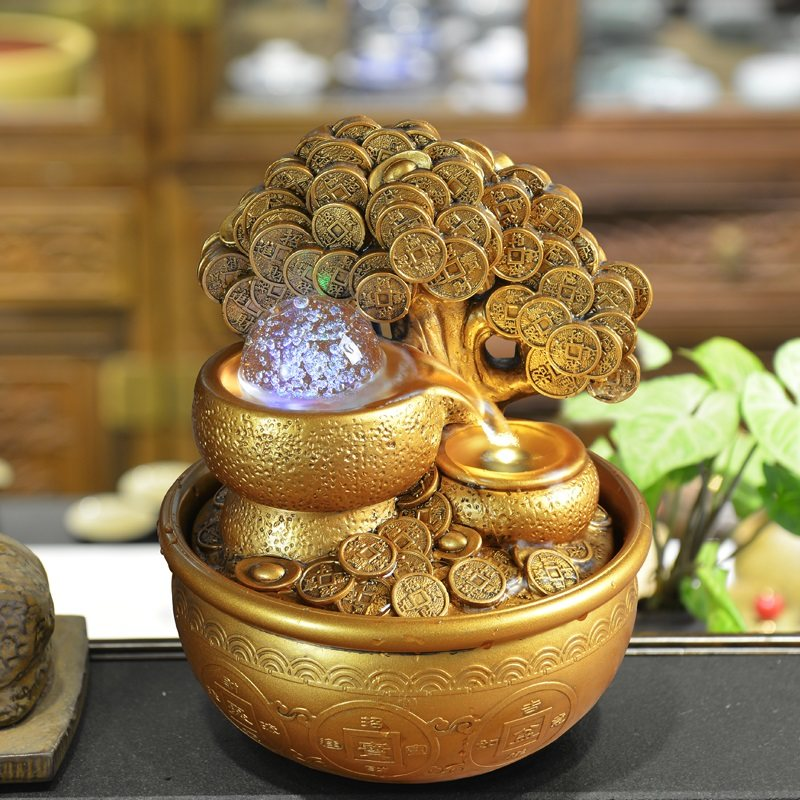 The source of wealth rolling transfer crystal ball water circulation aquatic money tree rich tree home shop to attract money pieces