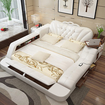 Simple modern double bed massage bed tatami bed leather bed multifunctional storage marriage bed 2 M 2 2 M bed