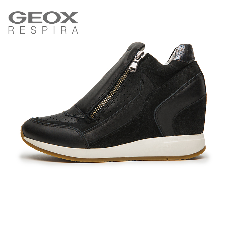 GEOX/Jinle autumn and winter women's shoes comfortable breathable wedge sneakers fashion lace casual shoes D620QA
