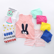 Summer girls suit children vest shorts two piece boy thin cotton 1-2-3-4-5 years old baby clothes 6