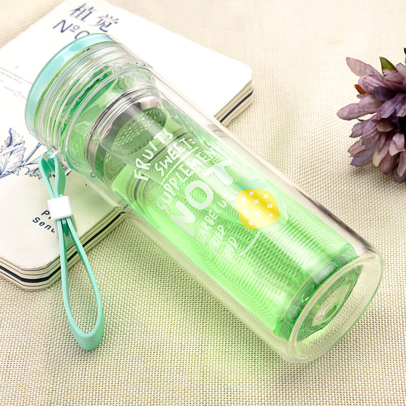 Korean version of the creative double-layer trend glass women insulated portable cup students cute tea cup