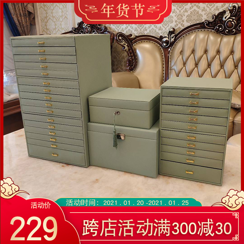 Large-capacity multi-layer jewelry box Princess European Korea jewelry jewelry hand-decorated box containing box wooden lock gift