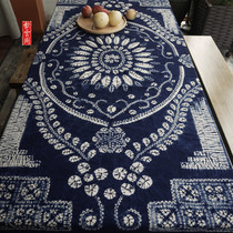 Yunnan Dali Handmade tie-dyeing grass blue dyed old flower cotton tablecloth national wind decorative wall hanging 195*145cm
