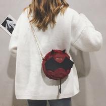 韩版可爱毛绒链条单肩圆包