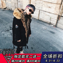 Hit the statue of the Collection Eagle Snow Vulture Mountain Vulture raccoon fur hair collar medium and large cotton coat