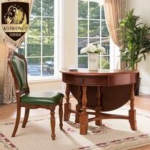 餐台美式可折叠玄关实木桌子多功能家用圆形餐桌椅小户型饭桌现货