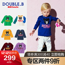 Mikihouse Double_b Japanese Boys and girls small black bear cartoon print pattern long-sleeved T-shirt collection