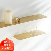Nordic Brass simple wall one word shelf home rack decorative rack bathroom laminate plate rack Japanese-style placement