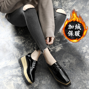 Platform shoes thick bottom 2017 new female winter all-match casual with black velvet with British style shoes