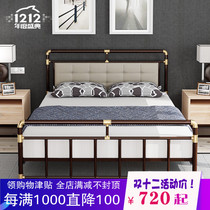 Retro European-style wrought iron bed princess bed double bed 1 8 single childrens bed 1 2 soft backrest iron bed 1 5 meters