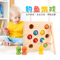1-2-3 years old puzzle boy child kitten fishing magnetic toy girl one year and a half Baby wooden fish