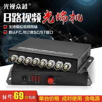 8-Way video optical analog monitor fiber extender BNC to fiber optic digital video optical transceiver