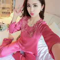 Lady's spring cute Korean version rosy red and thin summer pajamas