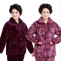 Winter lady thickening women's warm Mama cotton suit suit