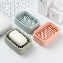 Wall-mounted punch-free soap box creative double-drain soap box bathroom with cover soap rack