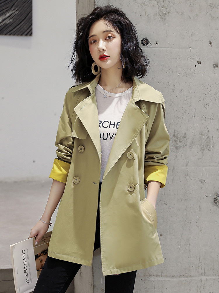 Spring Autumn 2021 New small windshield womens social style medium-length version of the Korean version of loose-fitting popular coat