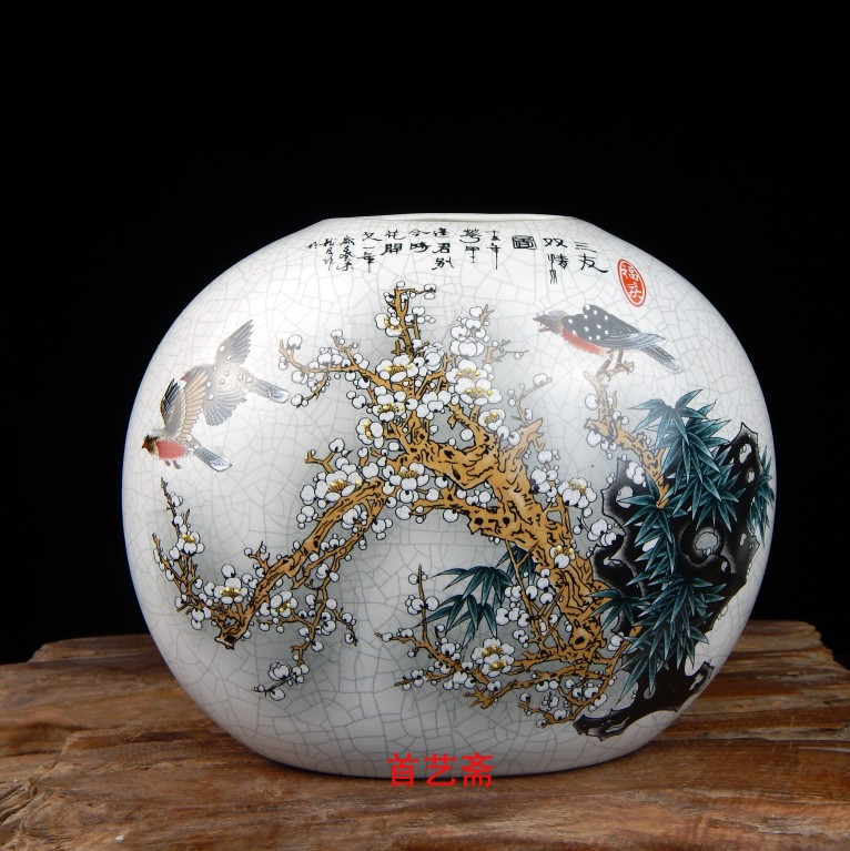 Jingdezhen Ceramic Vase Ancient Official Kiln Home Decoration Living Room Modern Porcelain Craft European-style Porcelain Decoration
