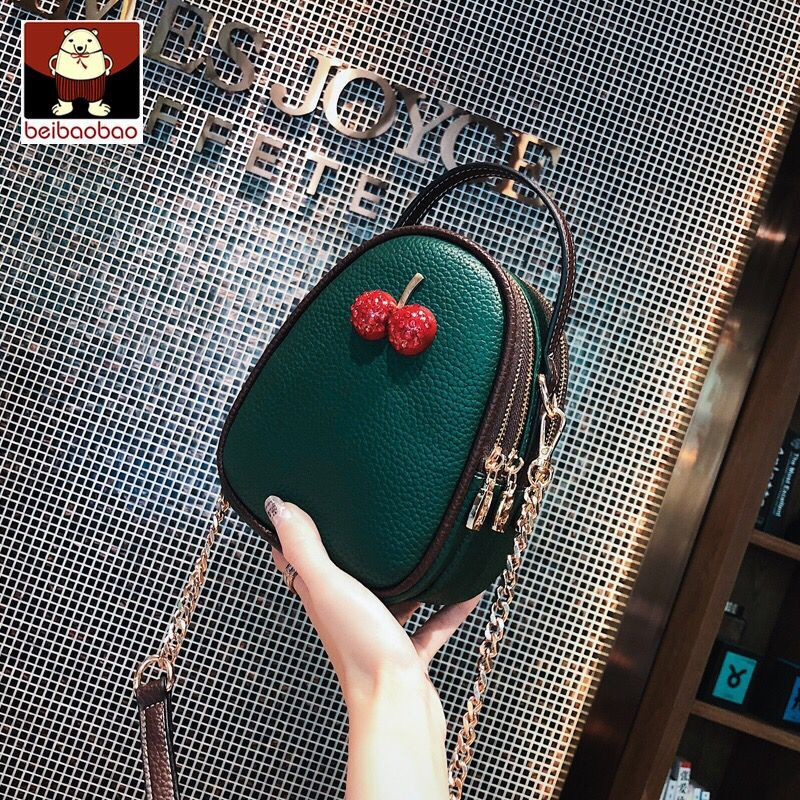 Beipao Baodao New Baggage Girls 2019 New Tide Slanting Baggage Fashion Korean Version Baitao Chain ins Cherry