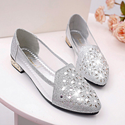 The summer of 2017 Korean flat shoes breathable gauze with rough diamond with diamond gourd female Crocs pointed shoes shallow tide