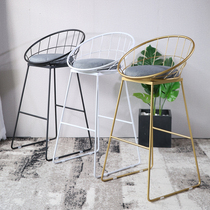 Iron Nordic backbar chair gold clothing store front desk high-footed home modern minimalist net red high stool