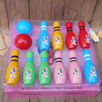 Childrens bowling toys wooden large set kindergarten baby indoor sports toys 2-10 years old