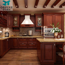 Nanjing solid Wood European Whole Cabinet custom-made American kitchen cooking cabinet custom red Oak Quartz stone Whole House customization