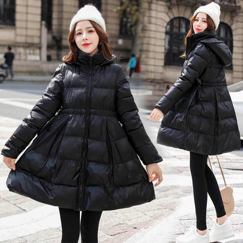 Pregnant women dressed in down cotton clothing womens late pregnancy size loose winter Korean version of the belly-covering winter A-word cotton coat