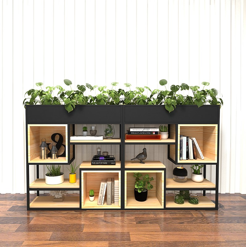Iron flower rack rack living room floor-to-ceiling modern simple green rose dwarf flower rack partition screen bookcases solid wood partition