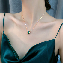 Color gold small waist necklace female 2021 new style does not fade clavicle chain net red light luxury niche cold wind pendant female