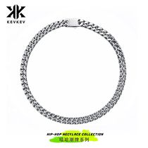 Kevkev Tide brand Cuban necklace European and American hip hop ins men and women titanium steel personality wild flow thick chain summer personality