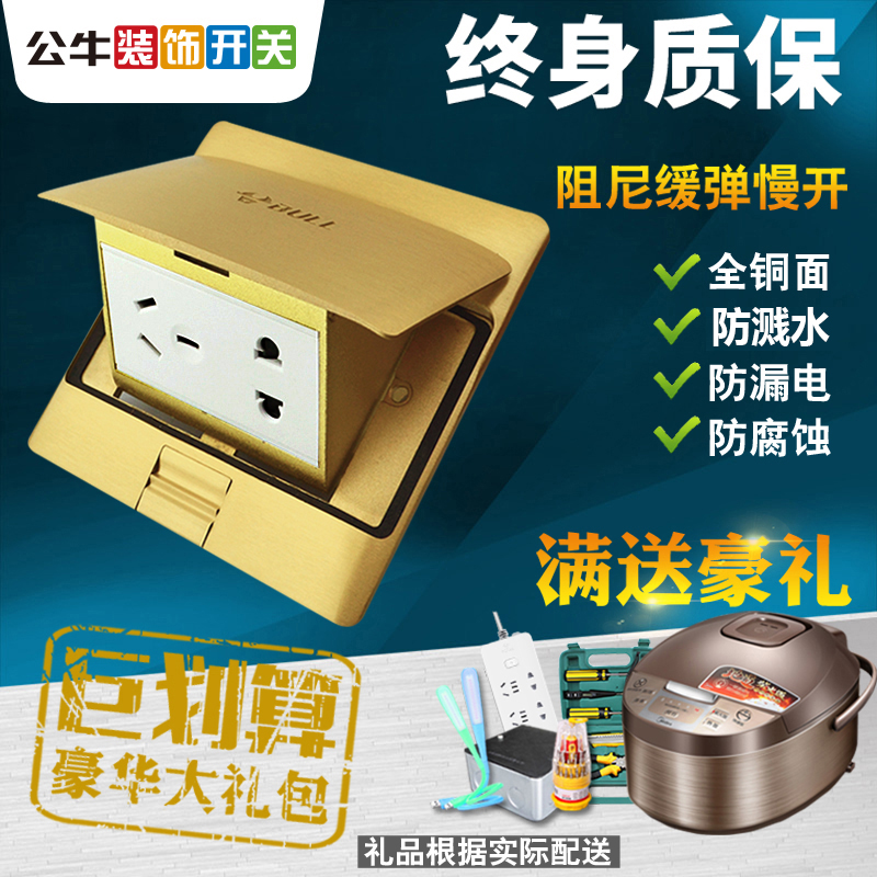 Bullock socket all copper water-proof damp five-hole socket panel power supply 5-hole concealed floor floor for household use