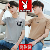 2 pieces) Playboy Summer mens short sleeve T-shirt trend hundred-lap slim pure cotton half sleeve new clothes