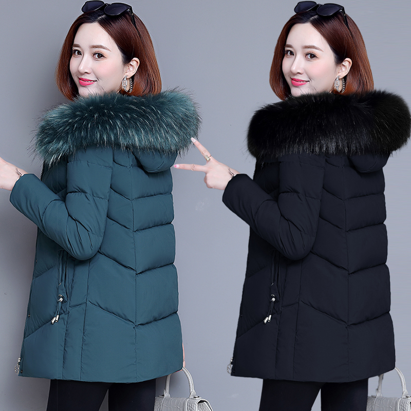 Cotton jacket down cotton clothing womens short 2020 winter clothing new middle-old mother dress medium-length version thickened cotton clothing