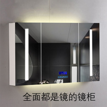 Intelligent Mirror Cabinet toilet locker anti-fog mirror with lamp toilet hanging wall type solid wood mirror cabinet mirror Box customization