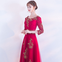 Spring and summer embroidery thin banquet toast Dress
