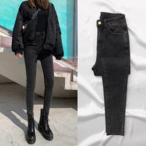 2020 Printemps Gris Noir Velours jeans femmes de haute-taille mince mince serré shorts printemps nouvelle marée