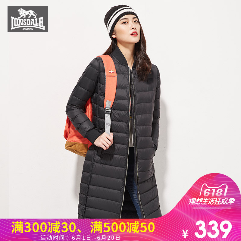 Lonsdale Dragon and Lion Dell Down Dress Female Mid-long Thin Outdoor Warming and Wind-proof Down Dress 23232321113