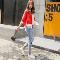 Red sunscreen womens short summer Korean version loose-fitting mid-sleeve small man stitching thin sun protection jacket