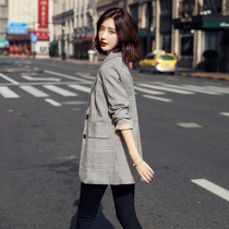 Checked suit jacket female spring Korean version of the British wind 2021 new professional Korean version of the retro small suit top