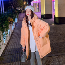 Orange down jacket womens middle-length small winter dress 2020 new loose white duck down fashion mid-style jacket