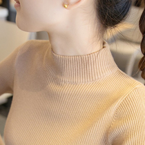 Semi-high neck sweater womens base shirt 2021 autumn and winter New long sleeve inner collar slim foreign style sweater
