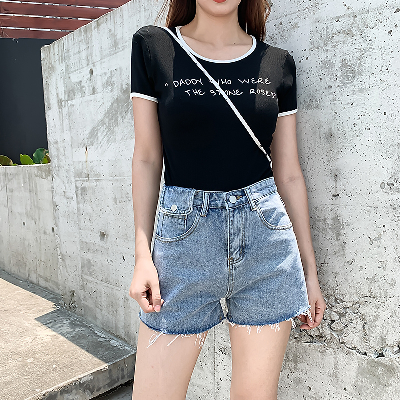 Denim shorts womens summer 2021 new trendy ins high waist thin super shorts with hairy loose-fitting hot pants