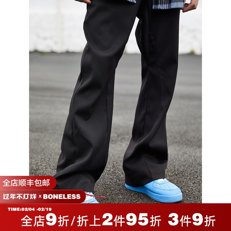 BONELESS 20SS suit fabric horn long version of trousers heavy solid color casual trousers mens high street